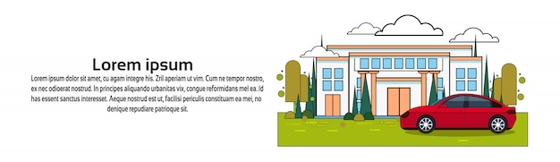 Casa com carro sobre o modelo de banner. seguro de propriedade e conceito de investimento
