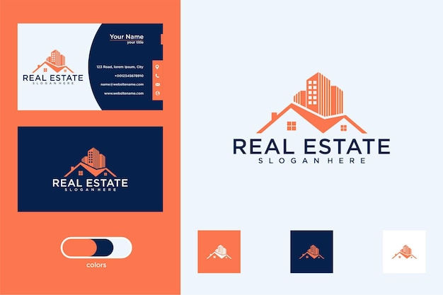 Casa com construção de design de logotipo e cartão de visita