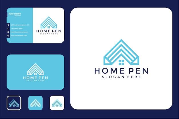 Casa com design de logotipo a lápis e cartão de visita