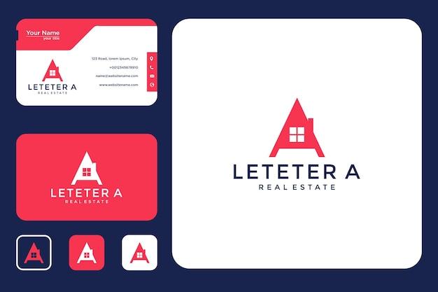 Casa com design de logotipo da letra a e cartão de visita