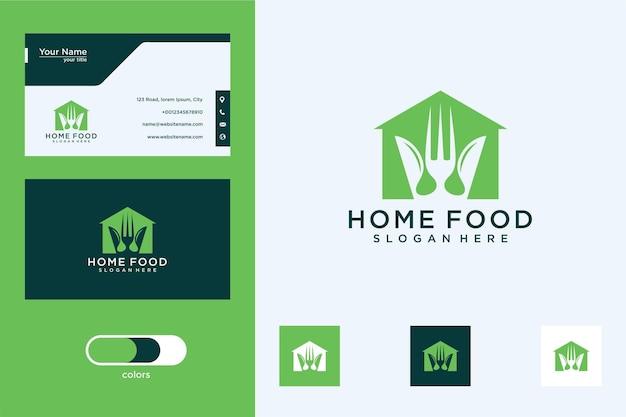 Casa com design de logotipo de garfo e colher e cartão de visita