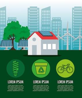 Casa com energia solar e árvore de ecologia