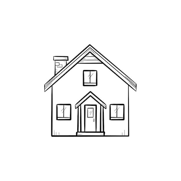 Casa com ícone de doodle de contorno desenhado de mão de porta e janela. edifício, propriedade, casa, propriedade, conceito de proteção