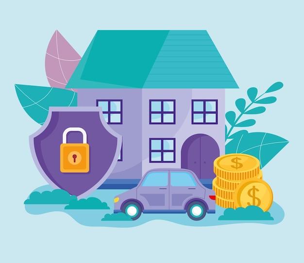 Casa com ícones de seguro de trabalho digital