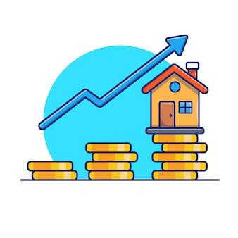Casa com ilustração estatística de moedas de ouro. conceito de investimento imobiliário. edifício branco isolado