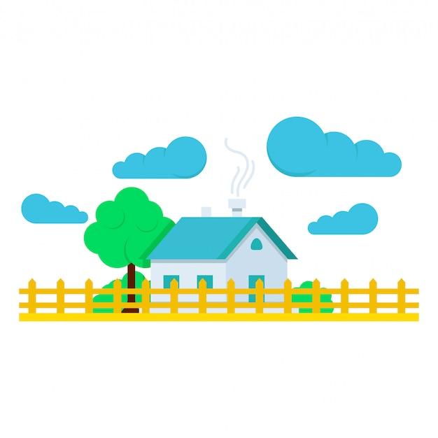 Casa com ilustração plana de árvores e nuvens