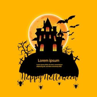Casa com lua em fundo laranja de halloween