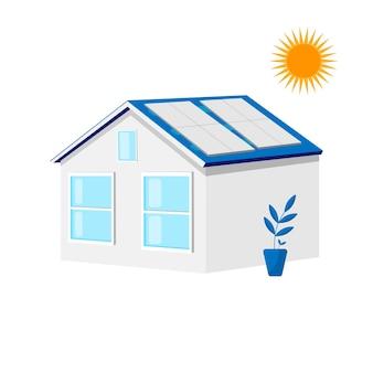 Casa com painéis solares no telhado. energia verde, conceito de ecologia. projeto de energia. ilustração em vetor plana isolada no fundo branco.