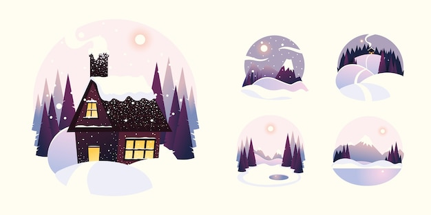Casa com paisagem de inverno com ilustração de montanhas e pinheiros