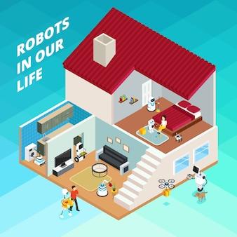 Casa com robôs para trabalhos domésticos