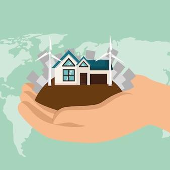 Casa com salvar os ícones do mundo