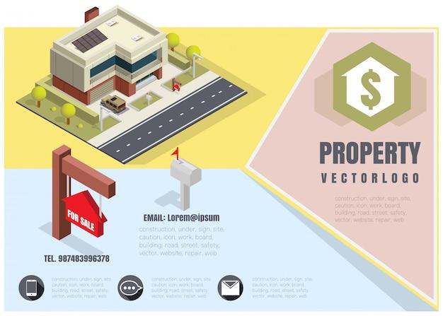 Casa com um sinal para venda, isométrica, ilustração em vetor de uma casa particular com um carro.