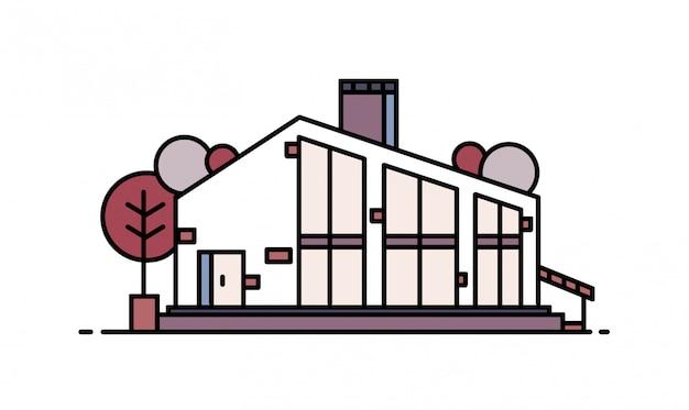 Casa construída com materiais naturais em estilo arquitetônico moderno.