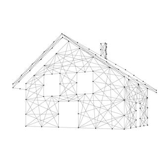 Casa, construindo com telhado e chaminé de linhas e pontos pretos poligonais futuristas abstratos. ilustração vetorial.