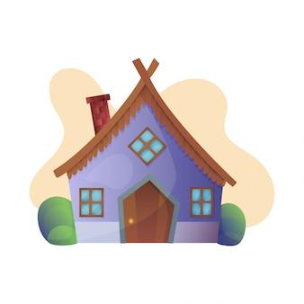 Casa da árvore de fadas dos desenhos animados de fantasia vetor e conjunto de ilustração de vila habitação de teatro de conto de fadas de crianças isolado