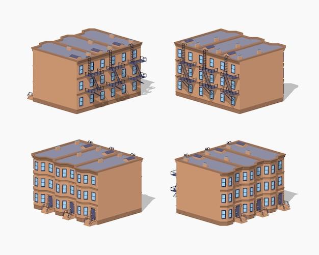Casa da cidade de baixo poli brownstone
