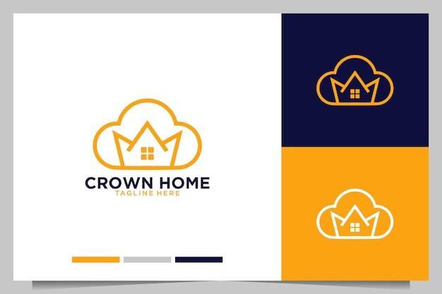 Casa da coroa com design de logotipo de arte de linha em nuvem