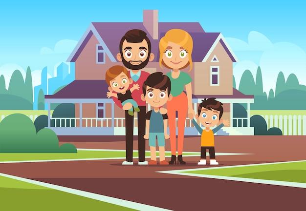 Casa da familia. feliz pais jovens pai mãe filho filha crianças ao ar livre frente casa edifício estilo de vida cartoon fundo