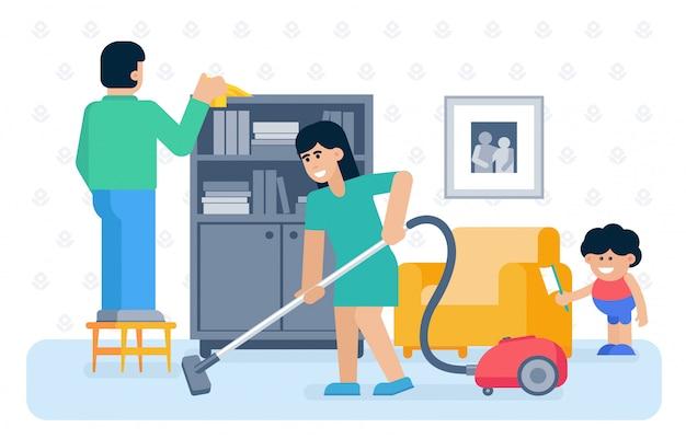 Casa da família jovem limpeza ilustração plana