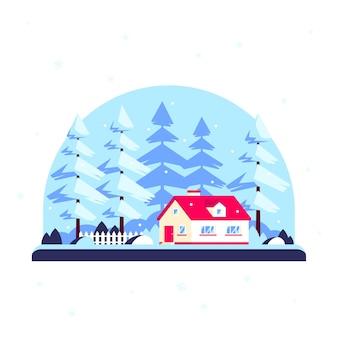 Casa da floresta de inverno, inverno landscepe com árvores na casa da família. conceito imobiliário. ilustração em estilo design plano