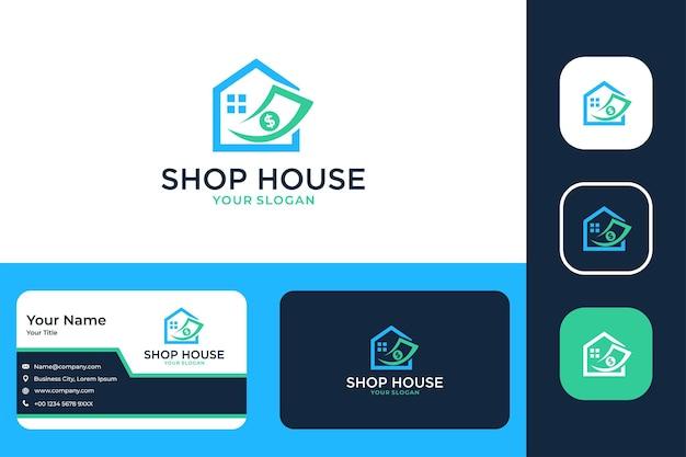 Casa da loja investir com logotipo de dinheiro e cartão de visita