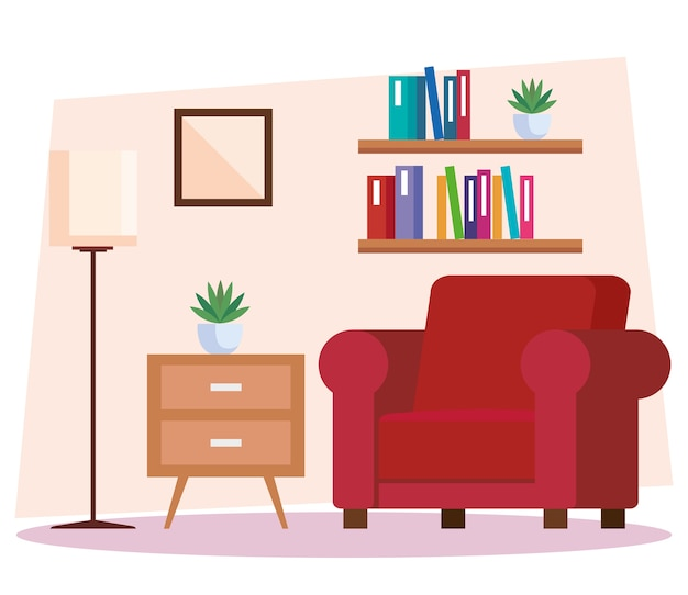 Casa da sala de estar, sofá e decoração interior casa ilustração design