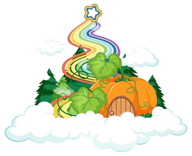 Casa de abóbora na nuvem com arco-íris