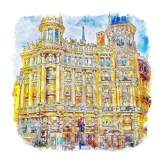 Casa de allende madrid ilustração em aquarela de esboço desenhado à mão