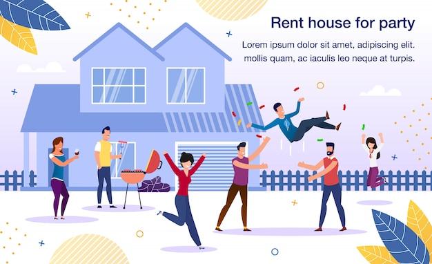 Casa de aluguel para festa de feriado flat banner