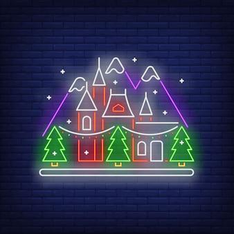 Casa de ano novo em sinal de néon de montanhas