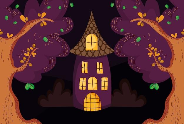 Casa de árvores na floresta halloween