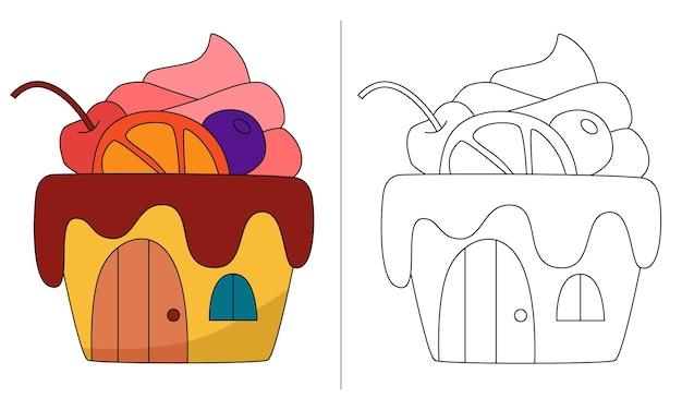 Casa de bolo com ilustração de livro para colorir infantil