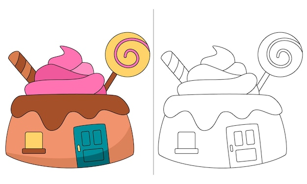 Casa de bolo com pirulito para colorir para crianças