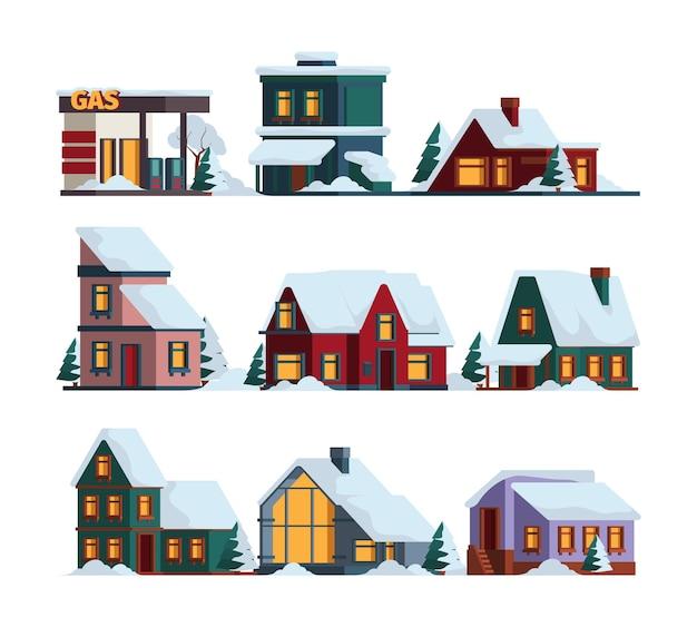 Casa de boné de neve. edifícios modernos de arquitetura de natal de inverno em ilustrações de casa de campo de vetor de queda de neve. ilustração de construção de inverno, arquitetura de casa na neve