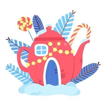 Casa de bule de natal vermelha com ícone de doces. plano de desenho animado da casa de bule vermelha de natal com ícone de vetor de doces para web design isolado no fundo branco