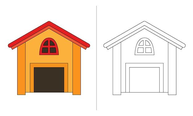 Casa de cachorro com ilustração de livro para colorir infantil