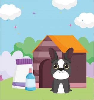 Casa de cachorro com pacote de comida animais de estimação ao ar livre