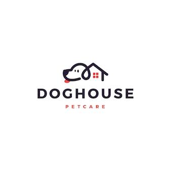 Casa de cachorro em casa logo vector ícone