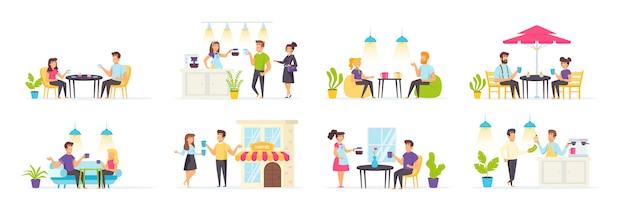 Casa de café com personagens de pessoas em várias cenas e situações.