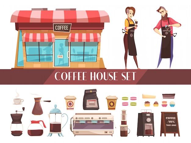 Casa de café dois banners horizontais