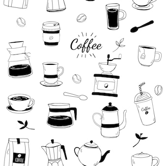 Casa de café e café estampados fundo vector