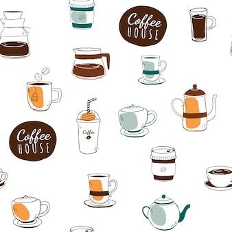 Casa de café e café modelado fundo