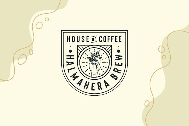 Casa de café halmahera brew com folha de café na mão logotipo totalmente editável texto, cor e contorno
