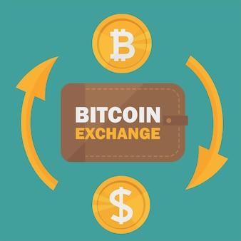 Casa de câmbio de dólar para bitcoin. troca de bitcoin com símbolo de moeda bitcoin e sinal de outras moedas. tecnologia de criptomoeda. ilustração vetorial