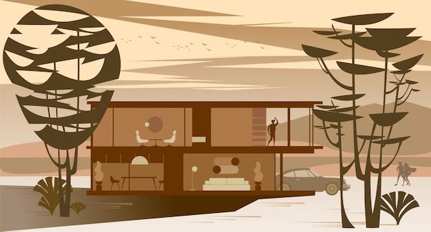 Casa de campo cheia de vidro com telhado plano na floresta ao pôr do sol.