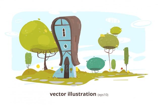 Casa de campo com ilustração de janela e porta