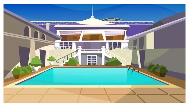 Casa de campo com ilustração de piscina