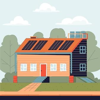 Casa de campo com painéis solares e sistema de captação de água.