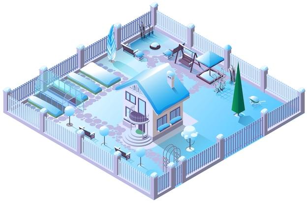Casa de campo de inverno e jardim sob a neve