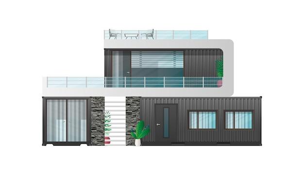 Casa de campo de um contêiner de carga preto.
